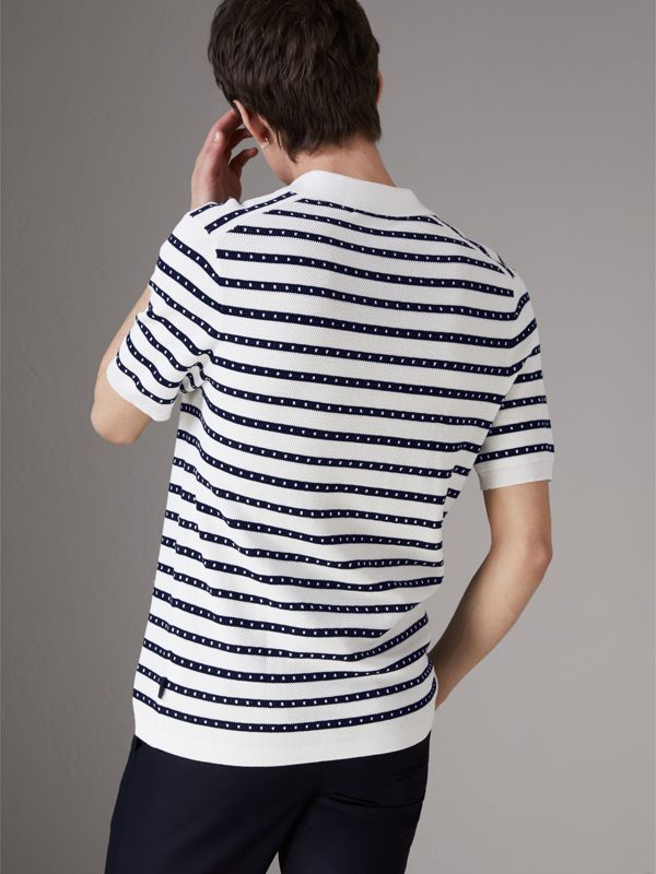 Striped Knitted Cotton Polo Shirt in Natural White - Men | Burberry - cell image 2