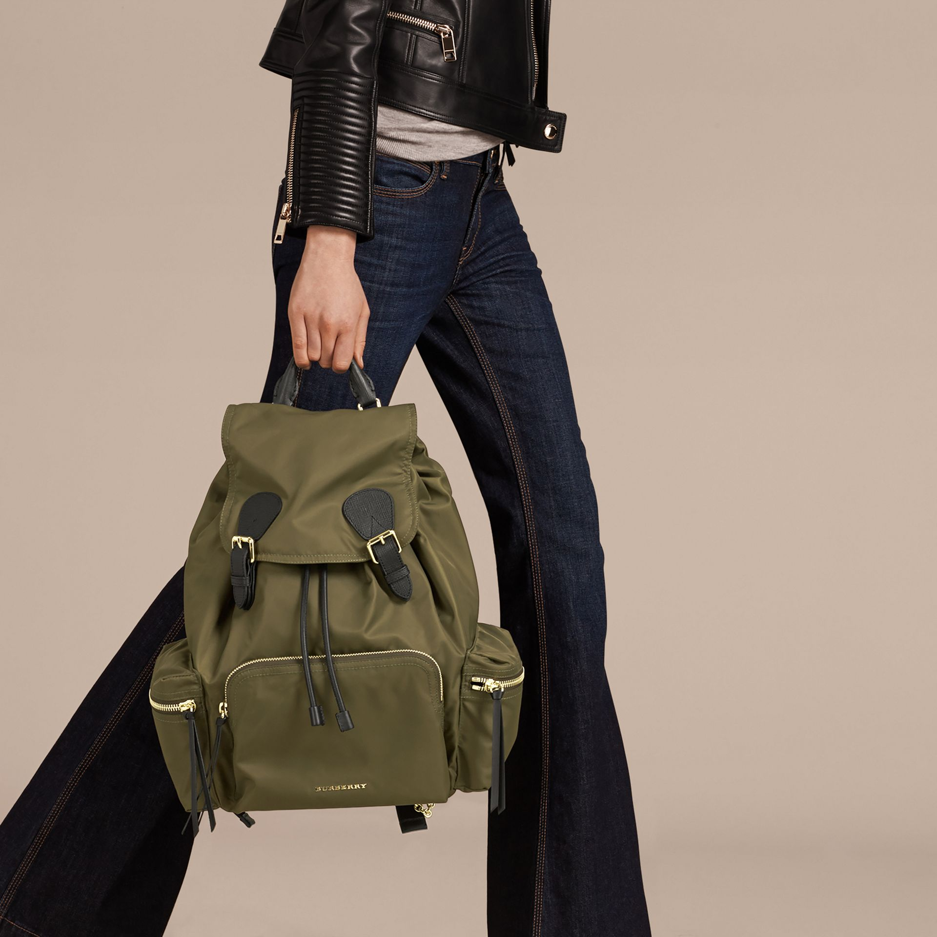 Canvas green The Large Rucksack in Technical Nylon and Leather Canvas Green - gallery image 3