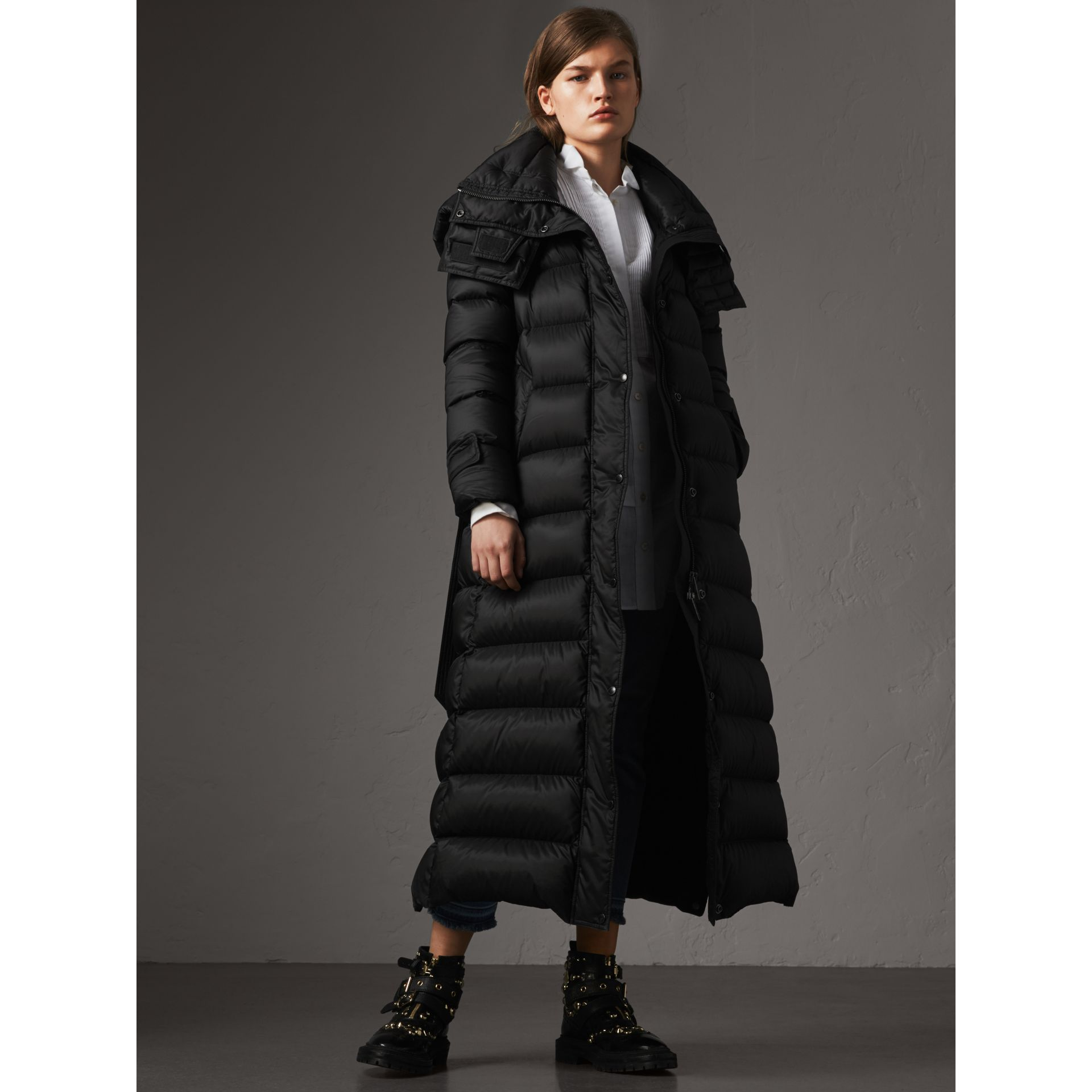 Detachable Hood Long Down-filled Puffer Coat in Black - Women | Burberry Australia - gallery image 6