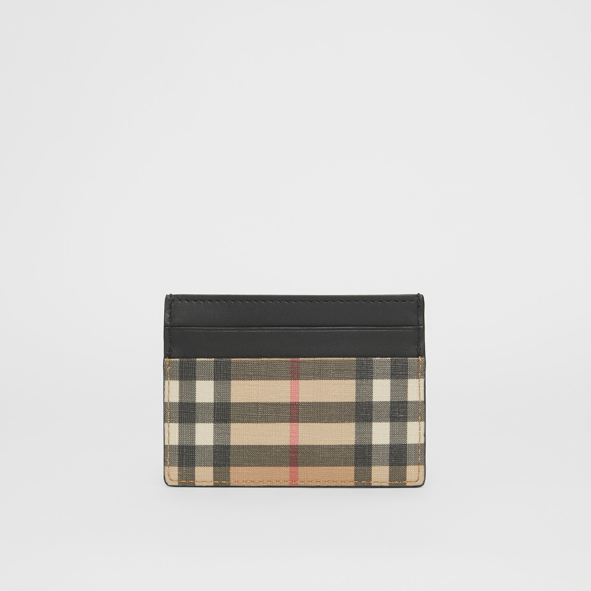 Vintage Check E-canvas and Leather Card Case in Archive Beige - Men | Burberry Hong Kong - gallery image 4