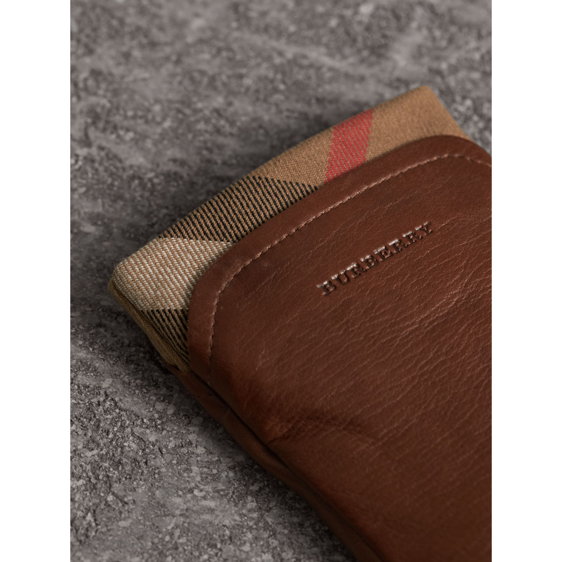 Check Trim Leather Touch Screen Gloves in Saddle Brown - Women | Burberry Singapore - gallery image 2