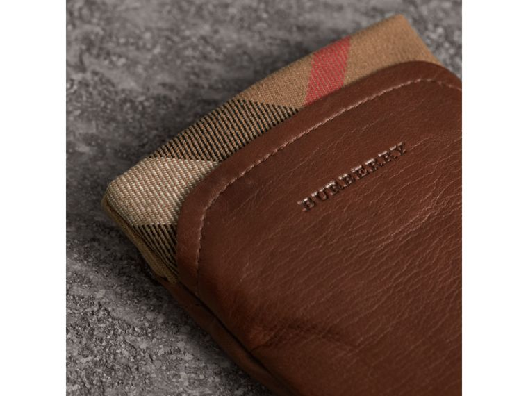 Check Trim Leather Touch Screen Gloves in Saddle Brown - Women | Burberry Singapore - cell image 1