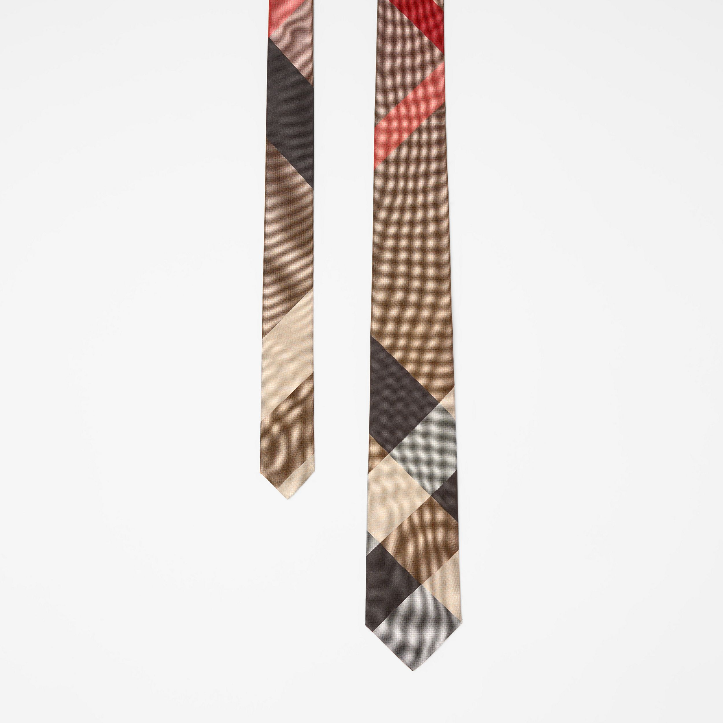 Modern Cut Oversized Check Silk Tie in Archive Beige - Men | Burberry - 1
