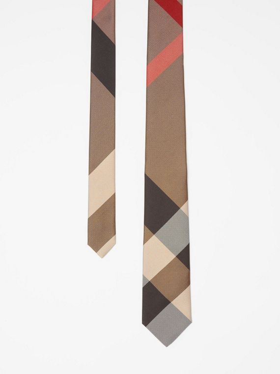 Modern Cut Oversized Check Silk Tie in Archive Beige