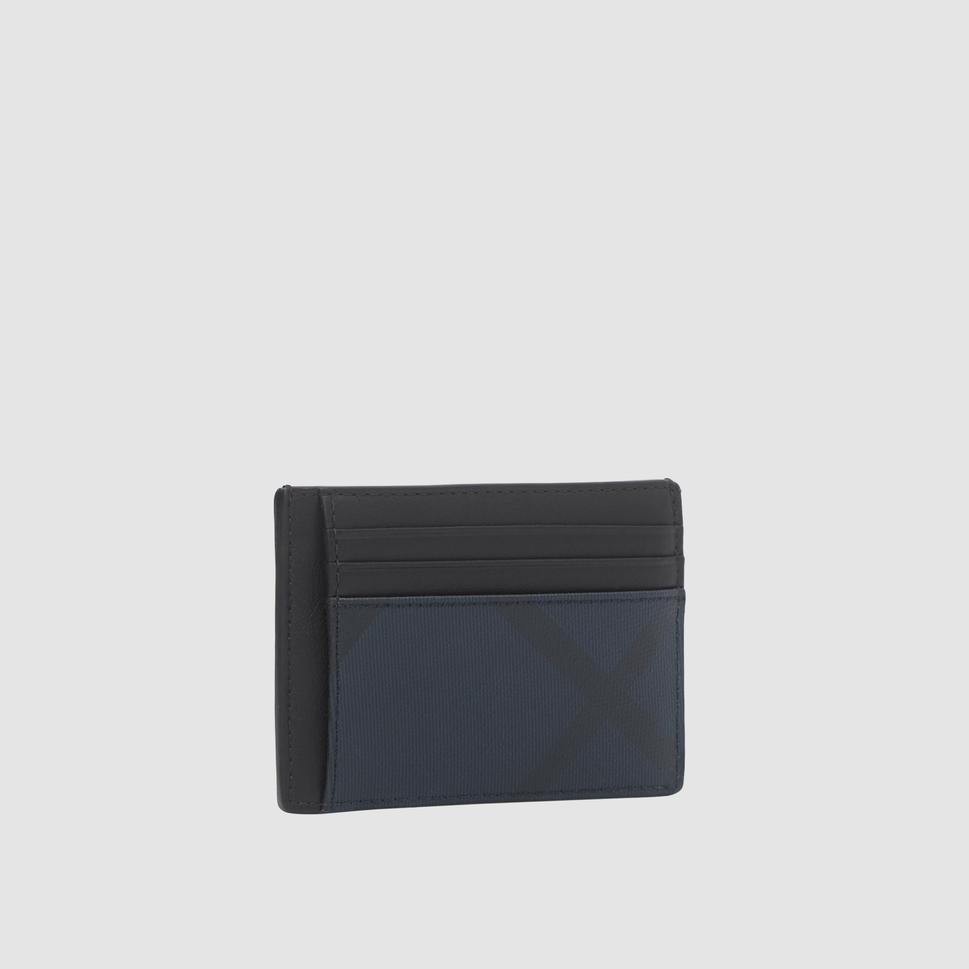 London Check and Leather Money Clip Card Case in Navy - Men | Burberry - gallery image 3
