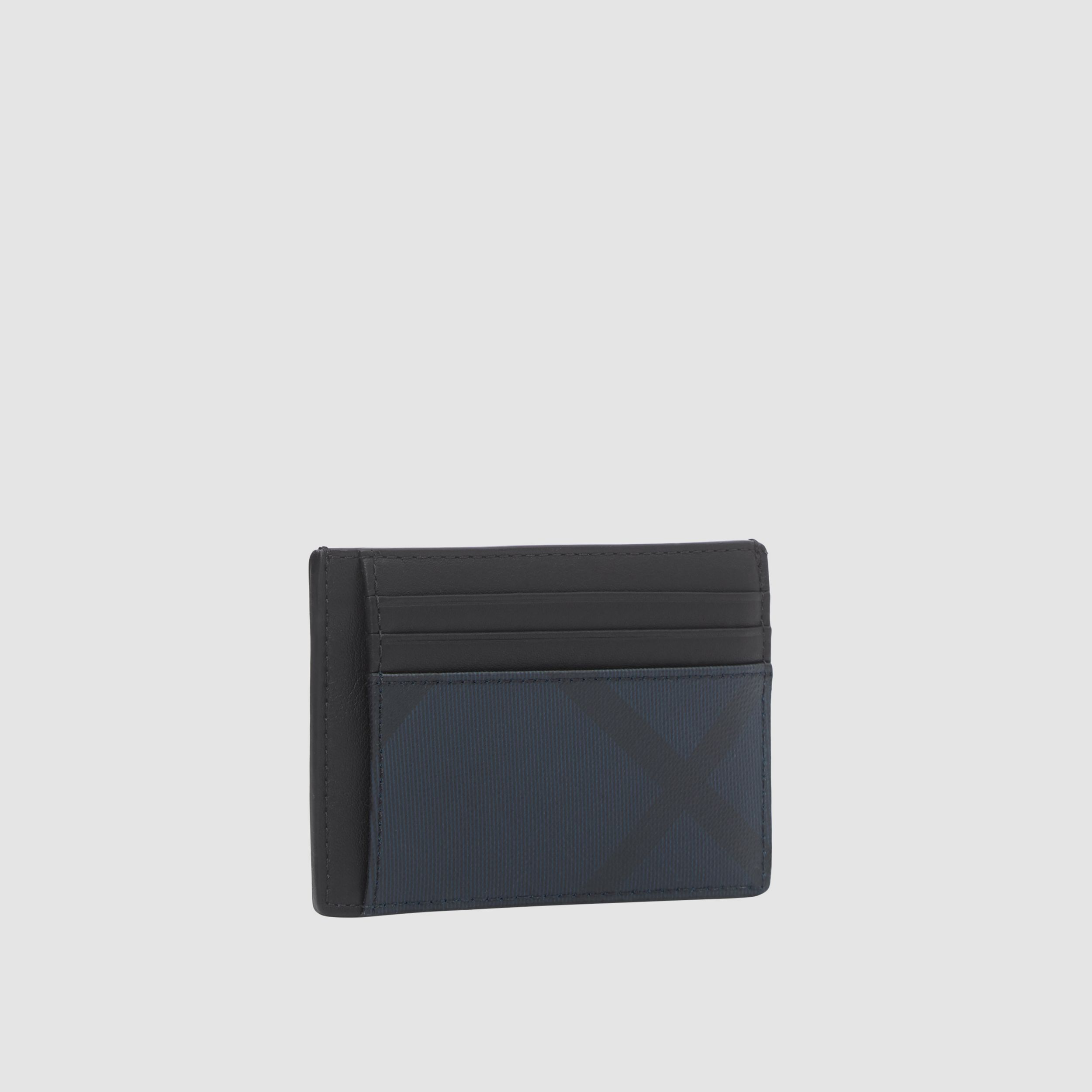 London Check and Leather Money Clip Card Case in Navy - Men | Burberry - 4