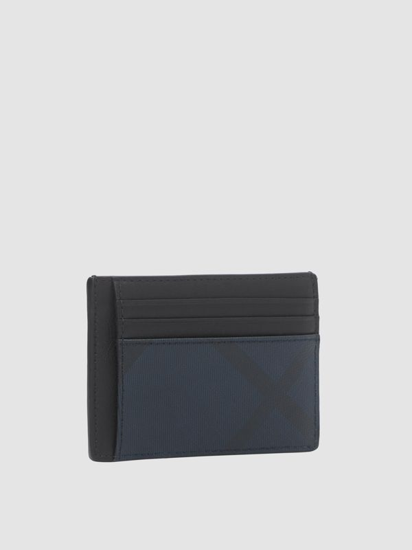 London Check and Leather Money Clip Card Case in Navy - Men | Burberry - cell image 3