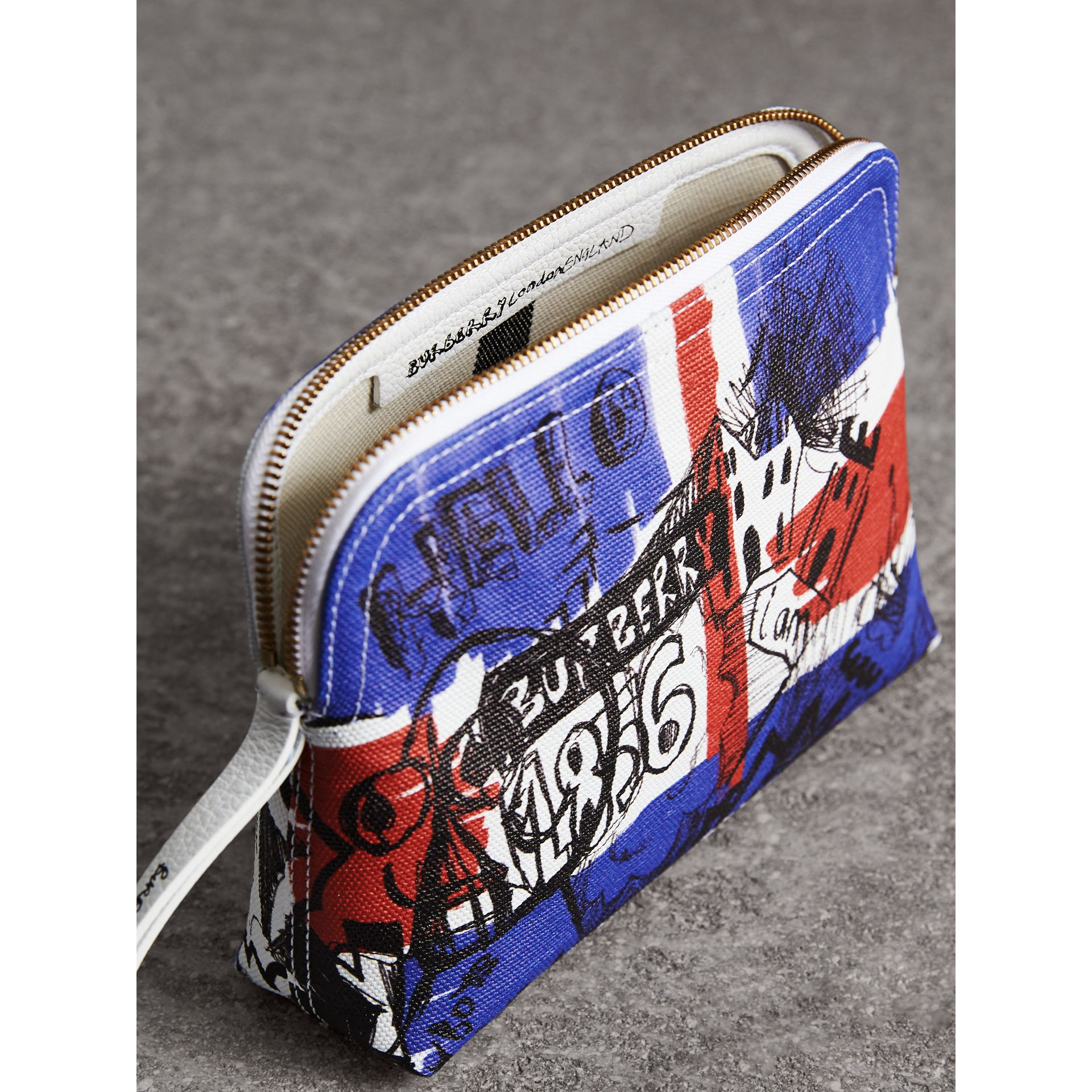 Large Zip-top Doodle Print Coated Canvas Pouch in Red/blue - Women | Burberry - gallery image 5