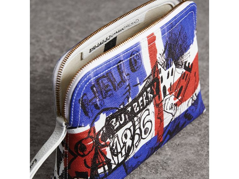Large Zip-top Doodle Print Coated Canvas Pouch in Red/blue - Women | Burberry - cell image 4