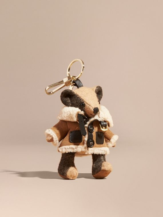 Thomas Bear Charm in Shearling Aviator Jacket