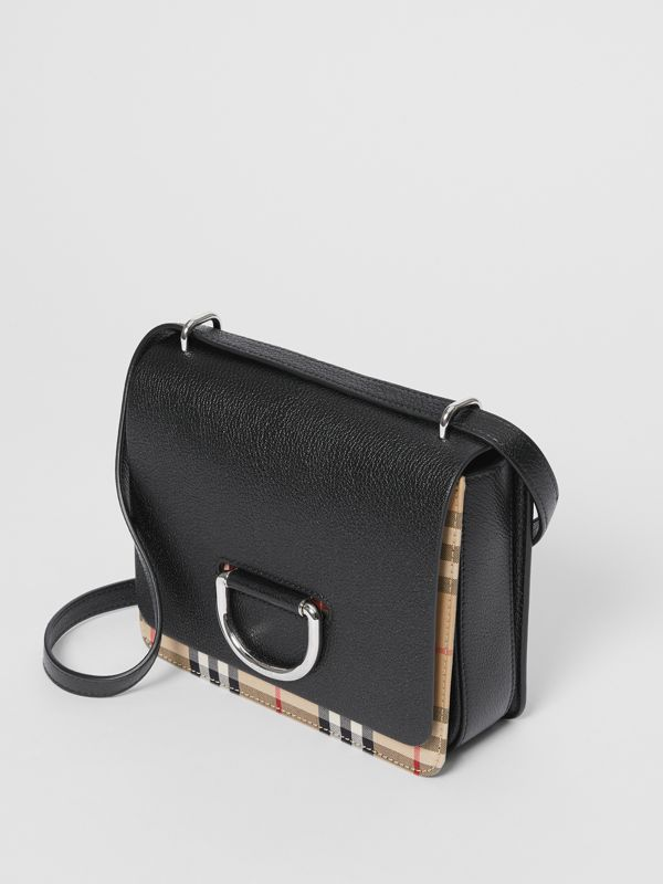 The Small Leather and Vintage Check D-ring Bag in Black - Women | Burberry - cell image 3