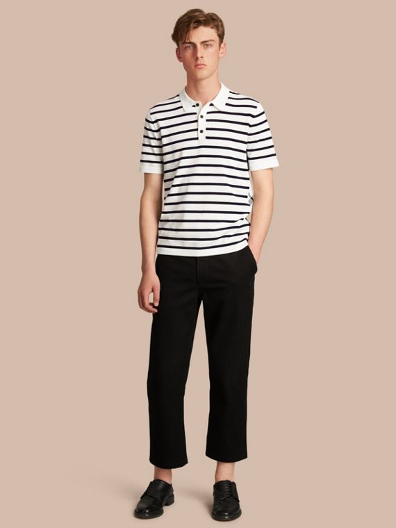 Breton Stripe Cotton Polo Shirt in White