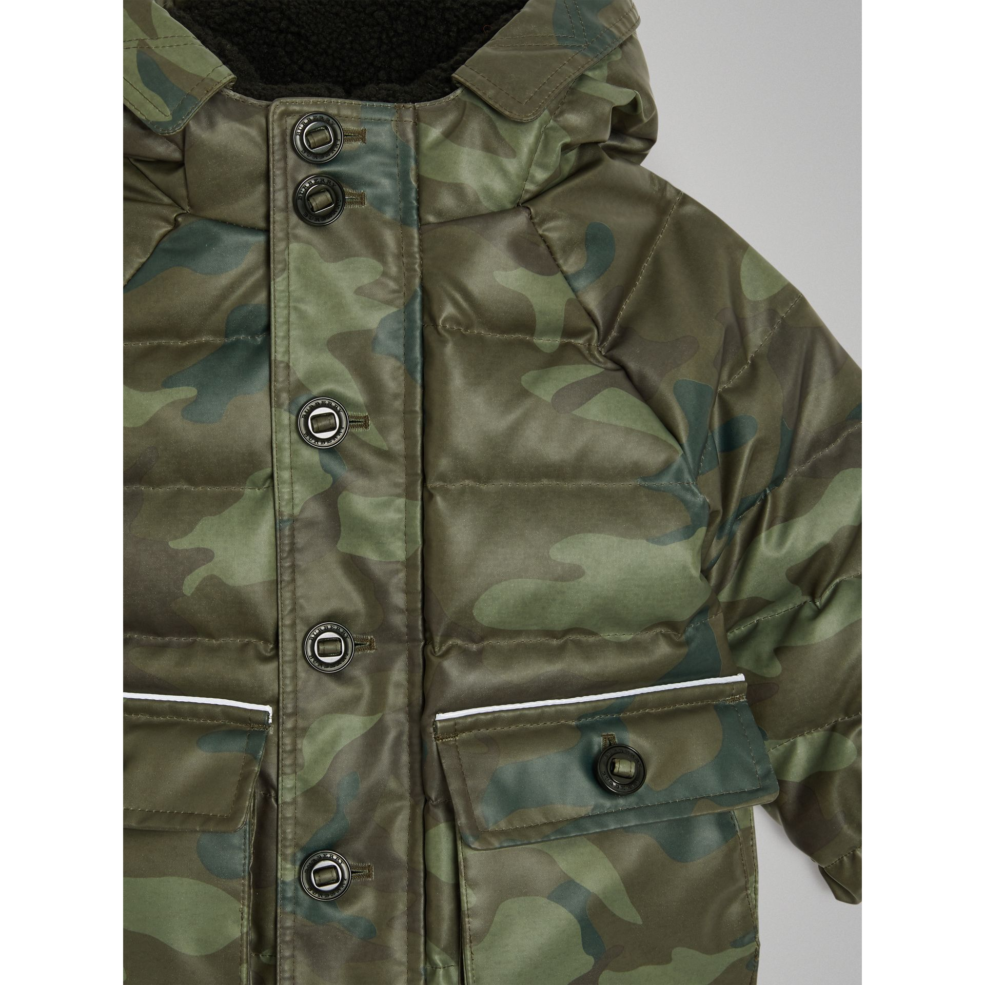 Camouflage Print Down-filled Puffer Jacket in Khaki | Burberry - gallery image 4