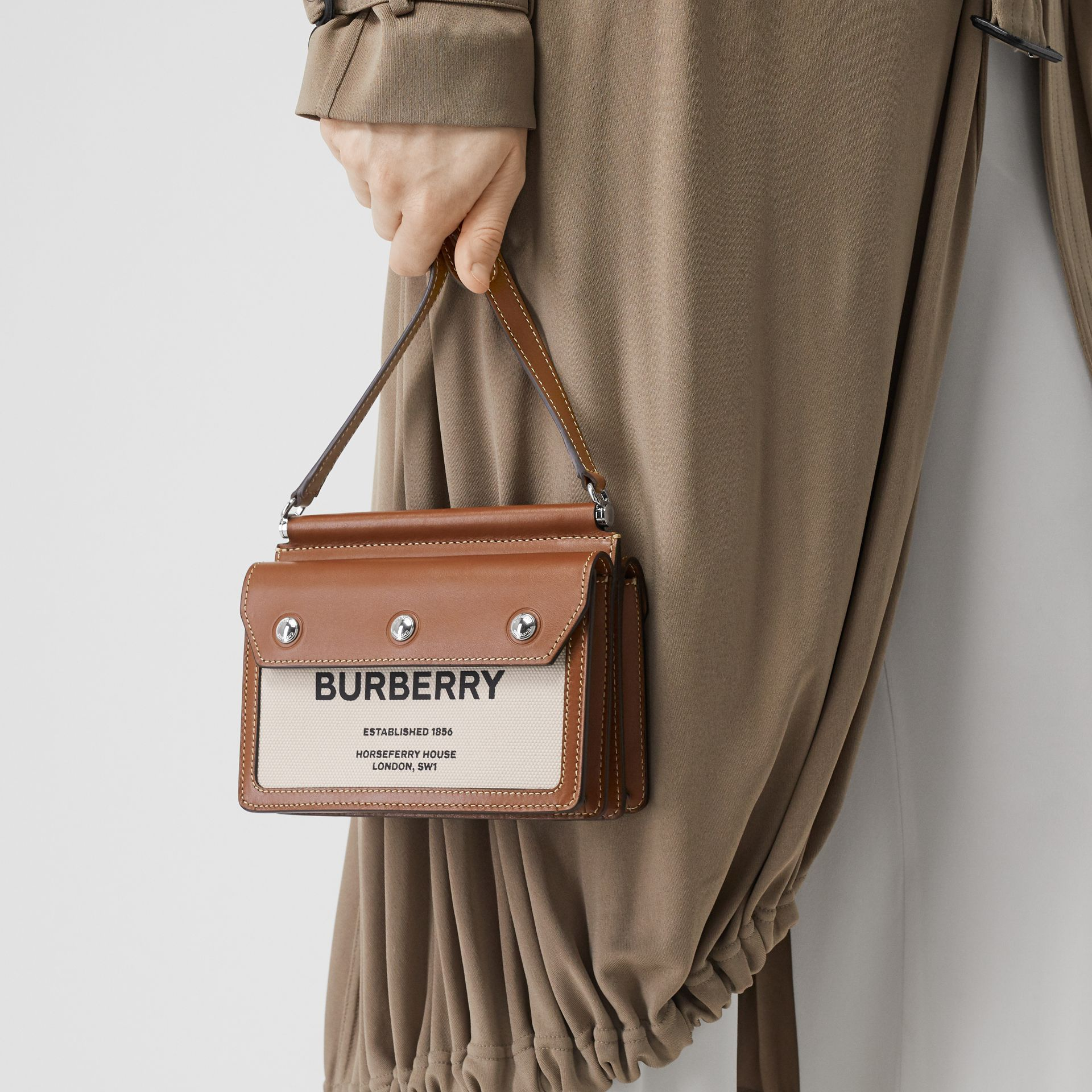 Mini Horseferry Print Title Bag with Pocket Detail in Natural/malt Brown - Women | Burberry Australia - gallery image 2