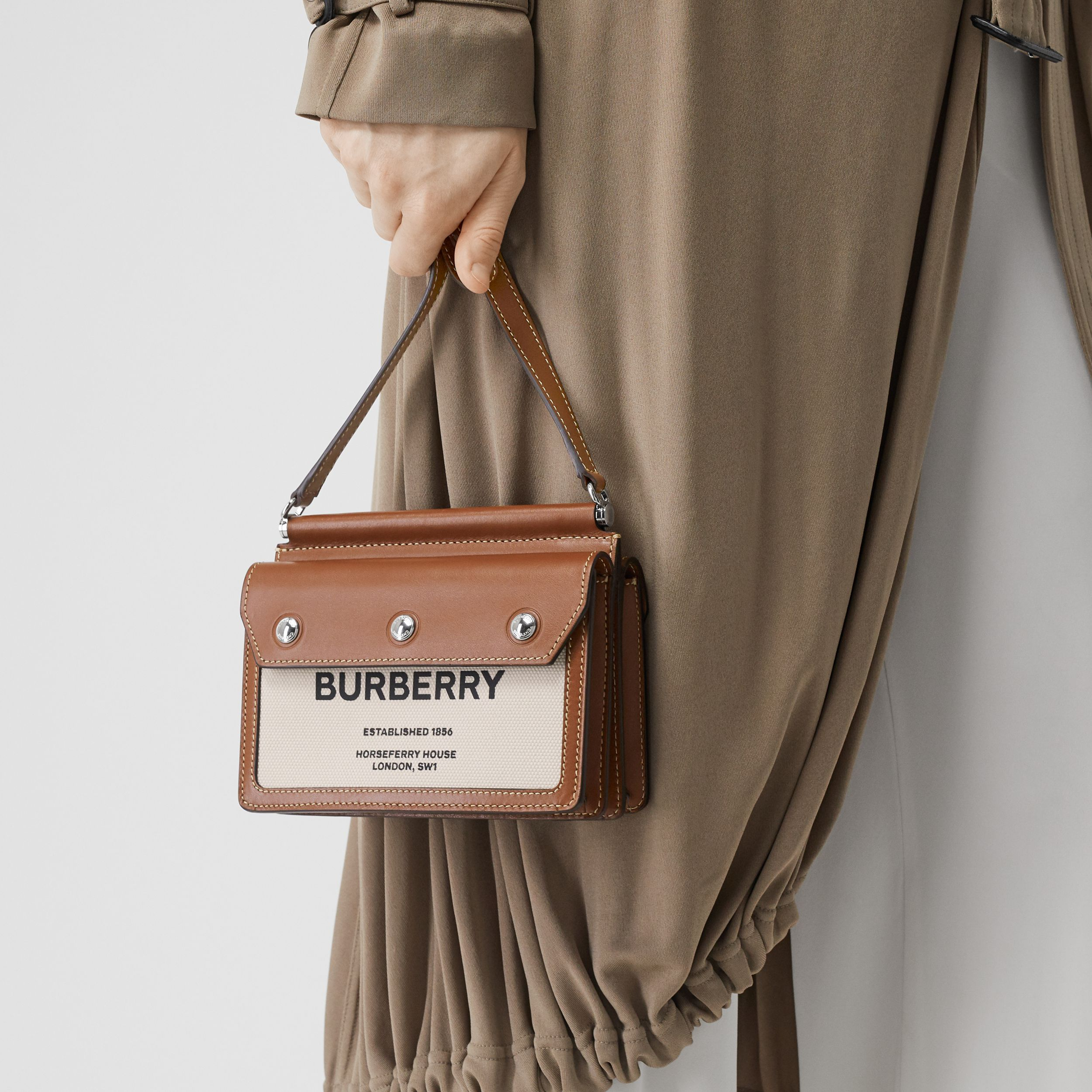 Mini Horseferry Print Title Bag with Pocket Detail in Natural/malt Brown - Women | Burberry - 3
