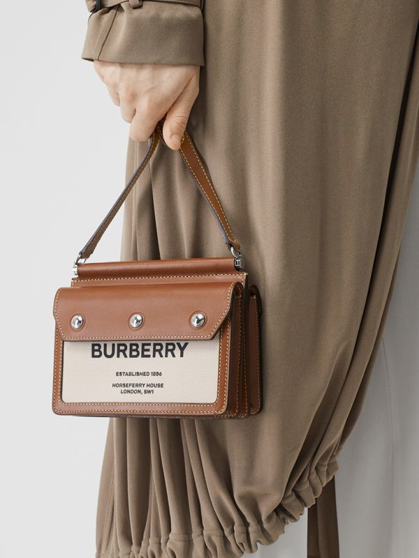 Mini Horseferry Print Title Bag with Pocket Detail in Natural/malt Brown - Women | Burberry Australia - cell image 2