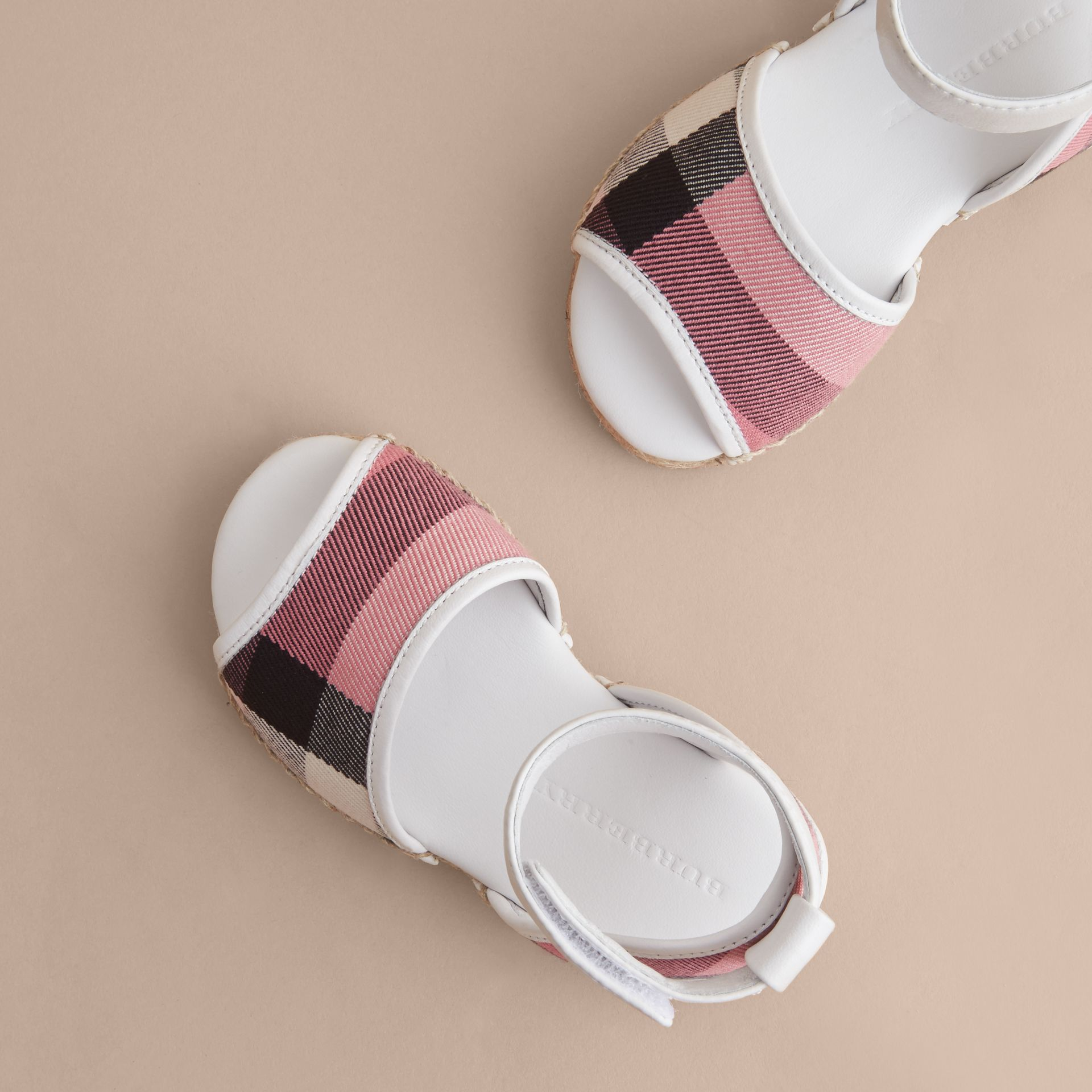Leather Ankle Strap and House Check Espadrille Sandals in Rose Pink - Children | Burberry Canada - gallery image 3