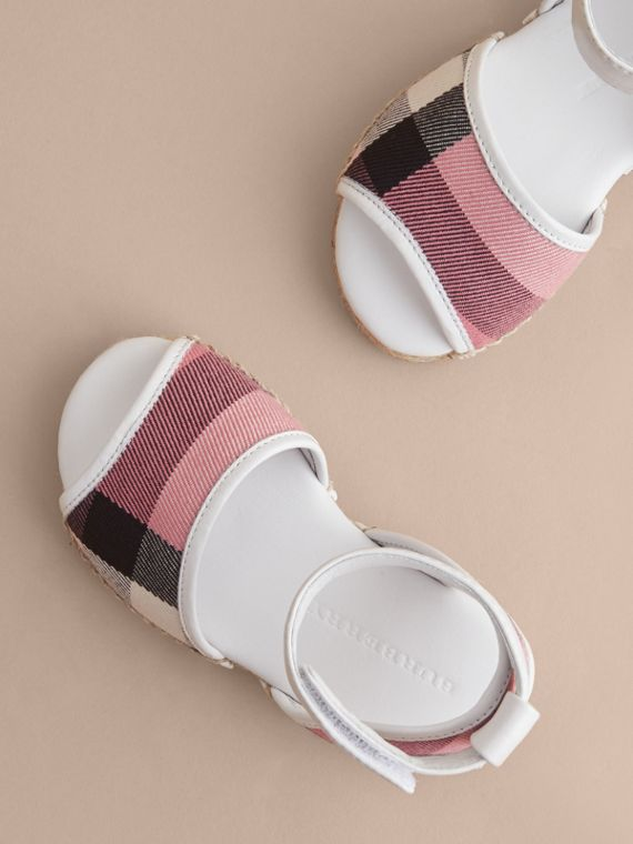 Leather Ankle Strap and House Check Espadrille Sandals in Rose Pink - Children | Burberry - cell image 2