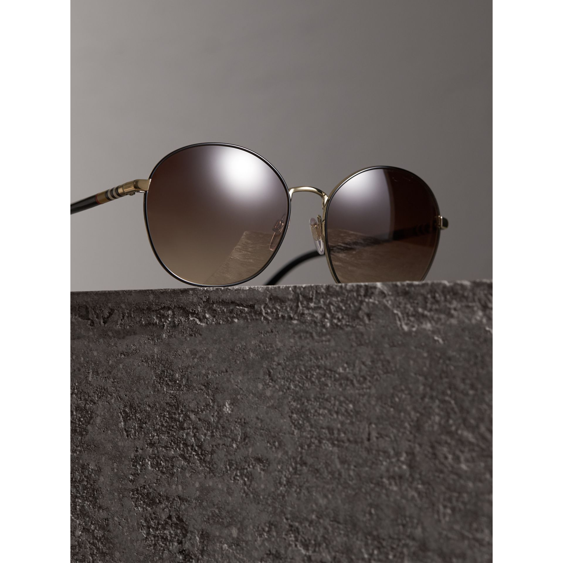 Check Detail Round Frame Sunglasses in Black - Women | Burberry Singapore - gallery image 2