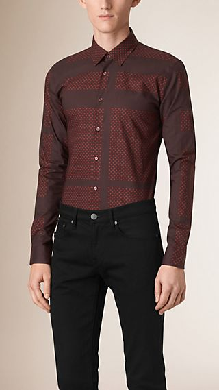 Slim Fit Polka Dot Check Cotton Shirt