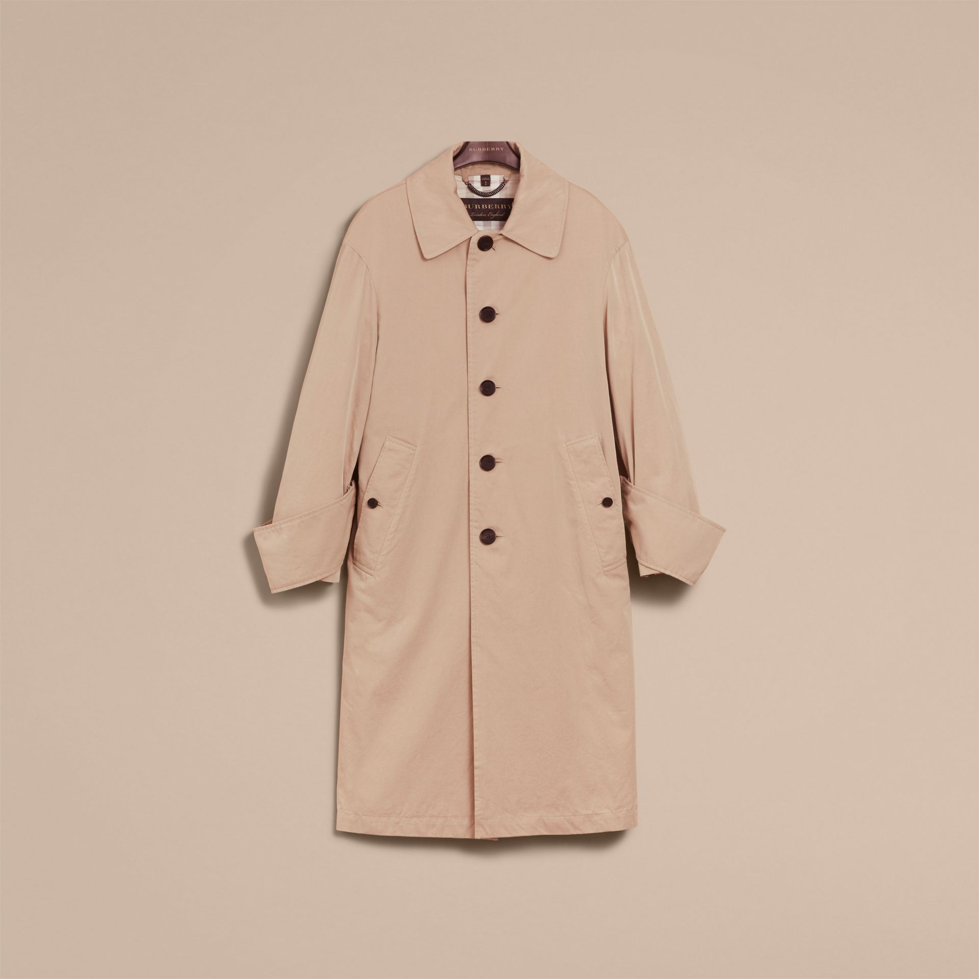 Unisex Tropical Gabardine Car Coat with Exaggerated Cuffs in Light Taupe - Women | Burberry - gallery image 4
