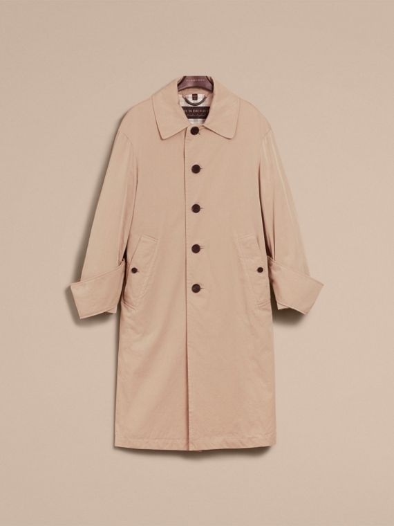Unisex Tropical Gabardine Car Coat with Exaggerated Cuffs in Light Taupe - Women | Burberry - cell image 3