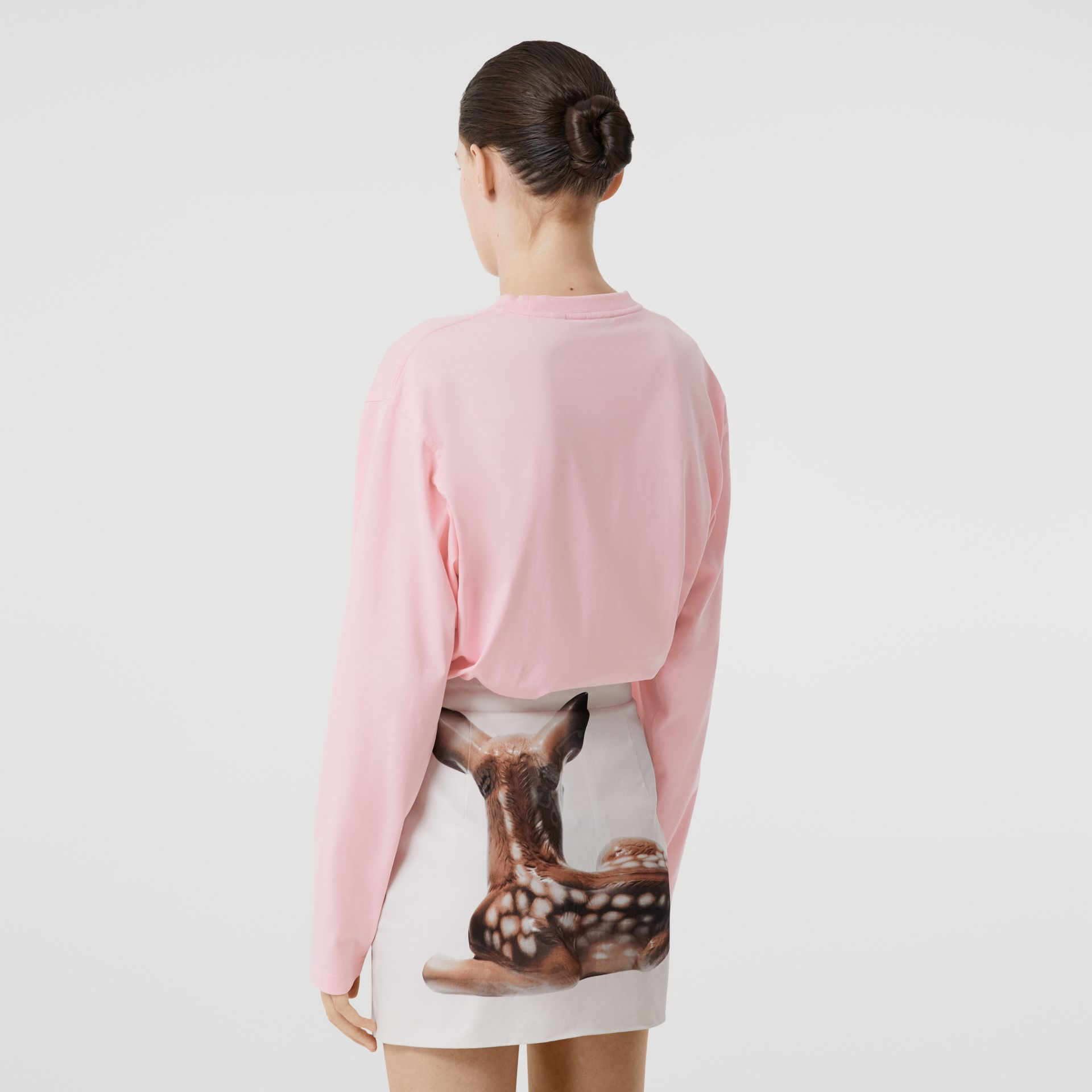 Long-sleeve Location Print Cotton Oversized Top in Candy Pink - Women | Burberry - gallery image 2