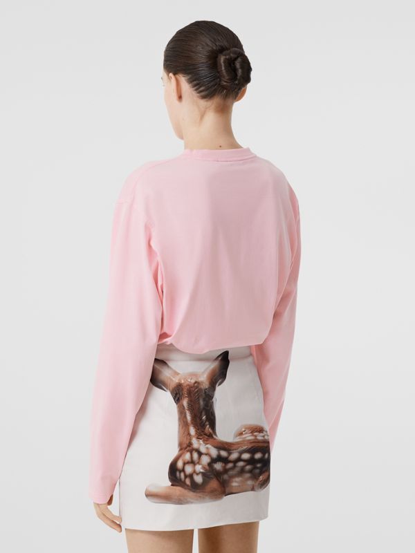 Long-sleeve Location Print Cotton Oversized Top in Candy Pink - Women | Burberry United Kingdom - cell image 2