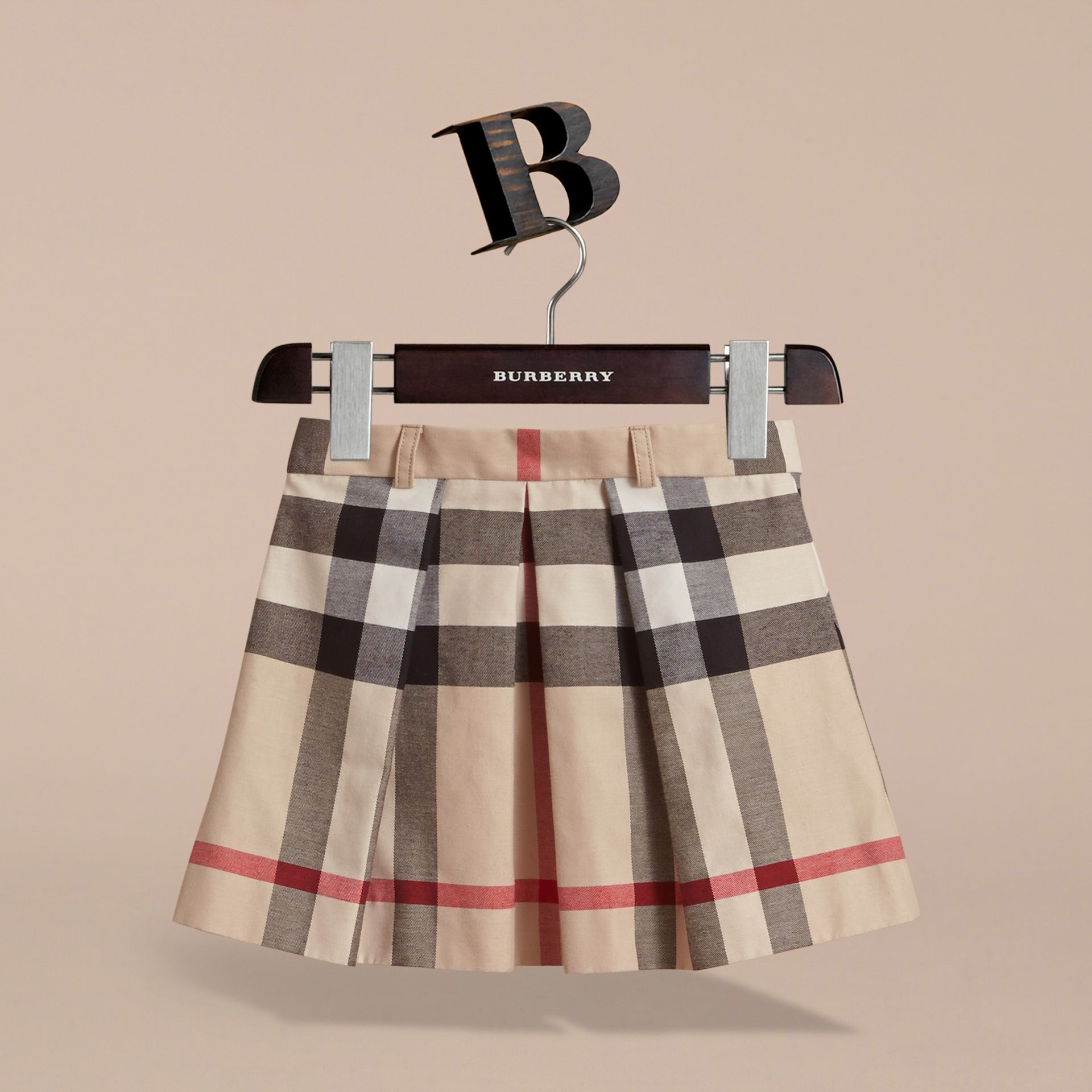Pleated Check Cotton Skirt in Stone - Girl | Burberry - gallery image 3