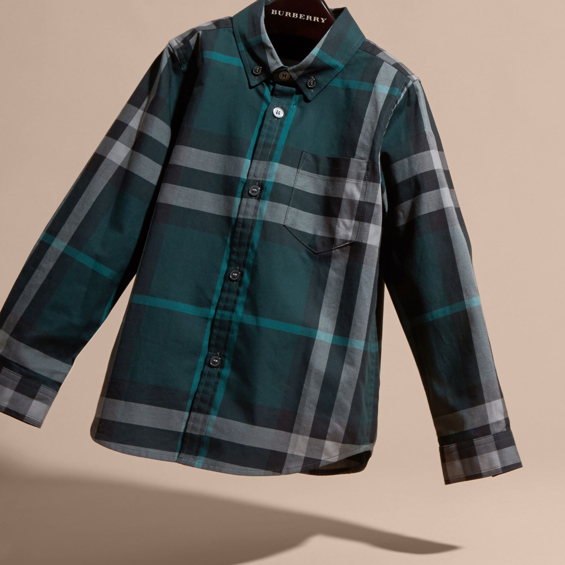 Racing green Check Cotton Button-Down Shirt Racing Green - gallery image 3