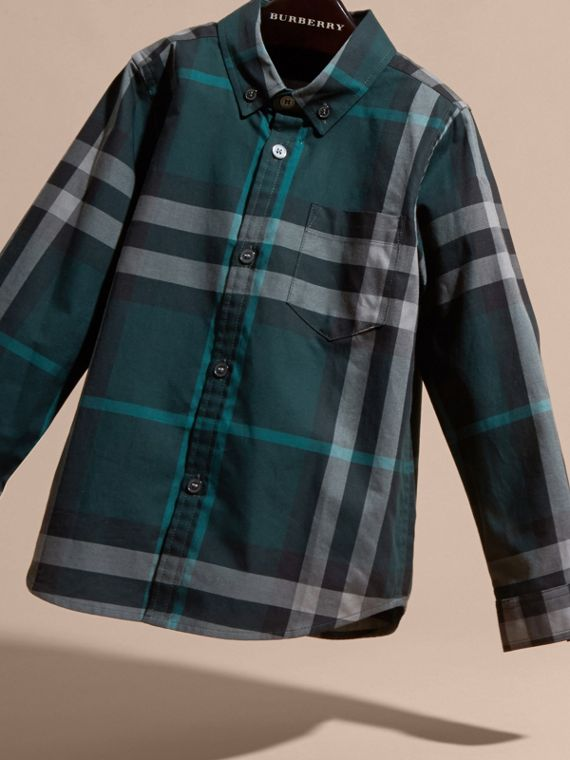 Racing green Check Cotton Button-Down Shirt Racing Green - cell image 2