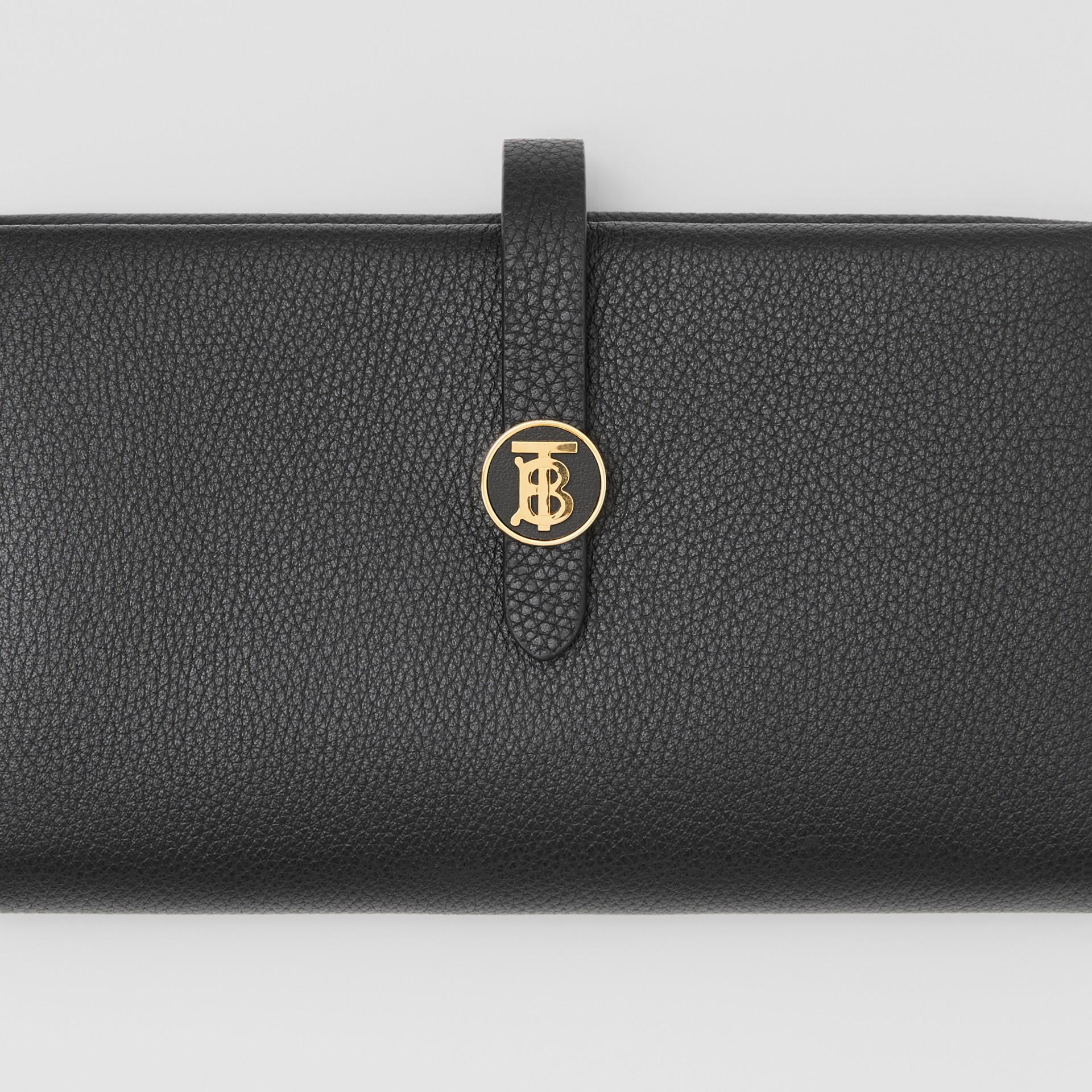 Monogram Motif Grainy Leather Folding Wallet in Black - Women | Burberry - gallery image 5