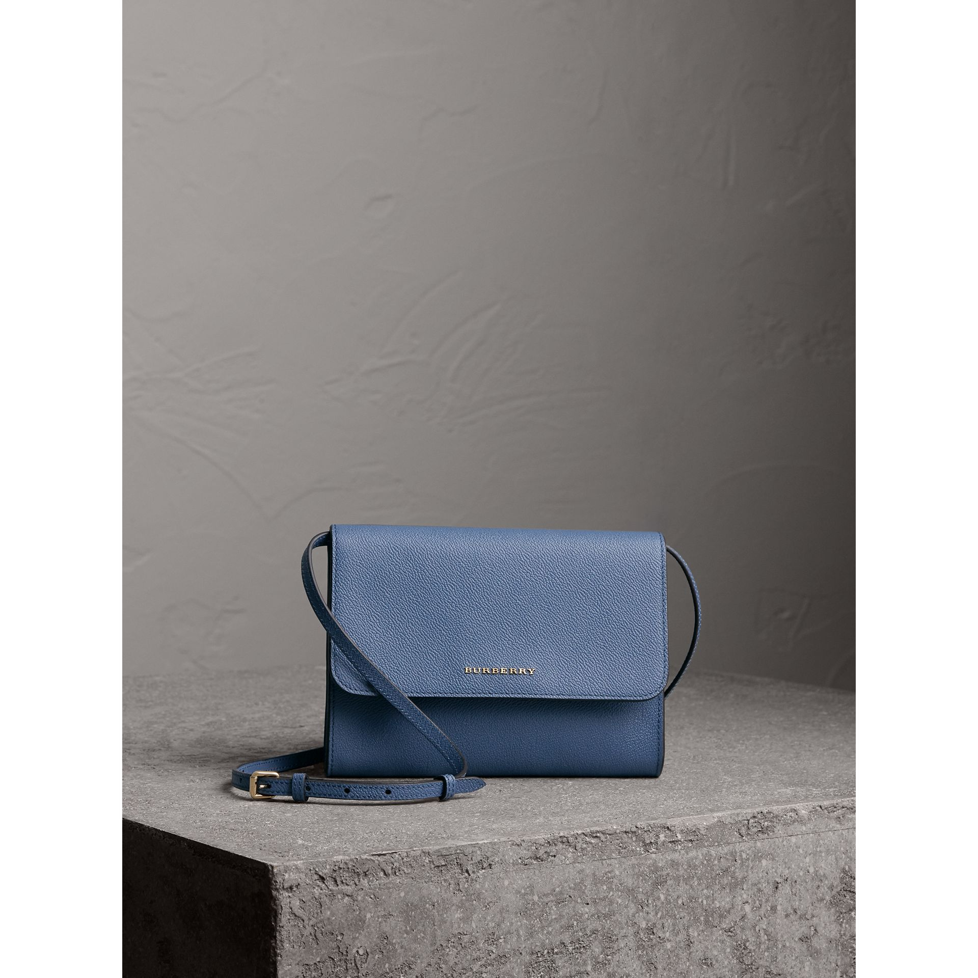 Grainy Leather Crossbody Bag in Steel Blue - Women | Burberry - gallery image 1