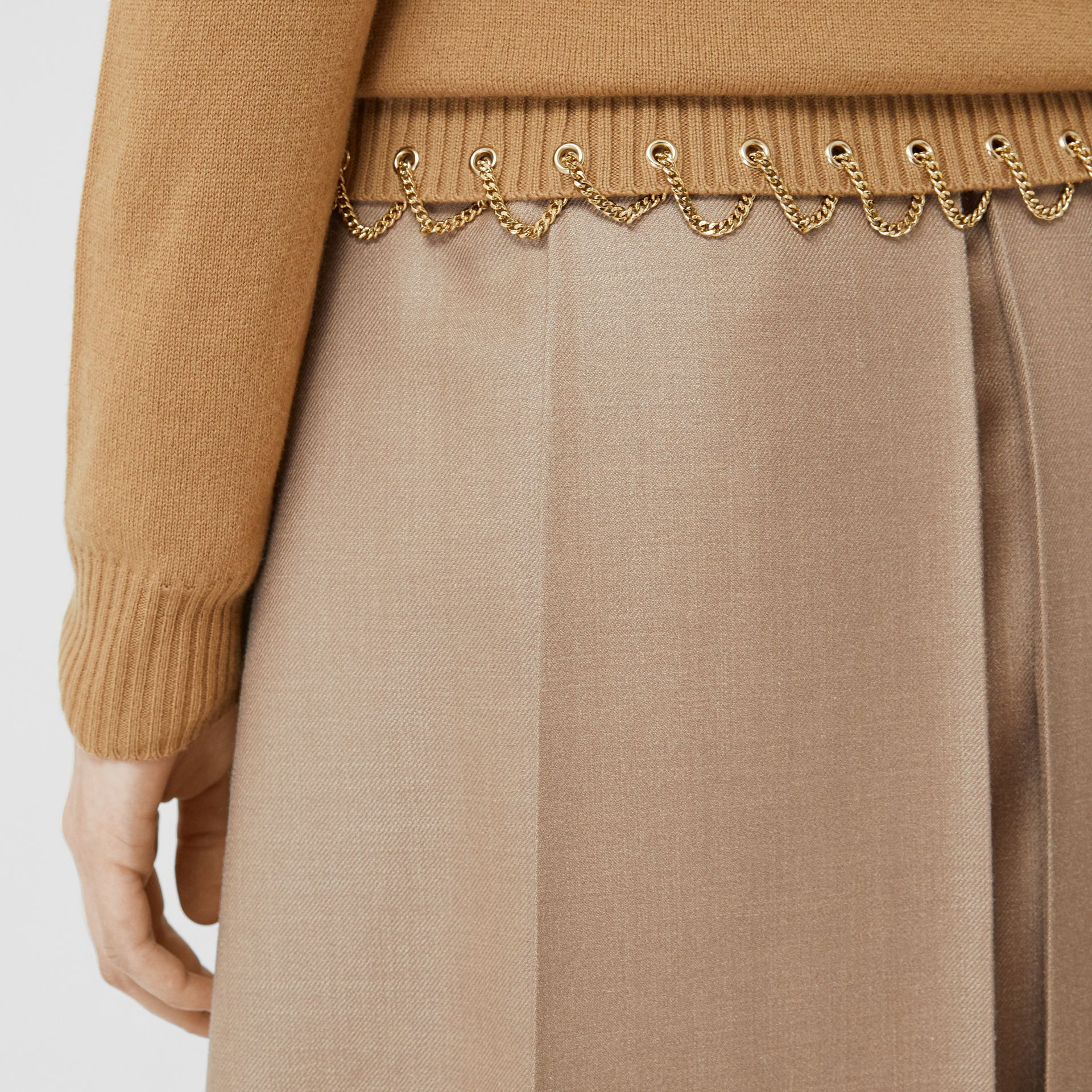Chain Detail Cashmere Sweater in Camel - Women | Burberry United Kingdom - gallery image 4