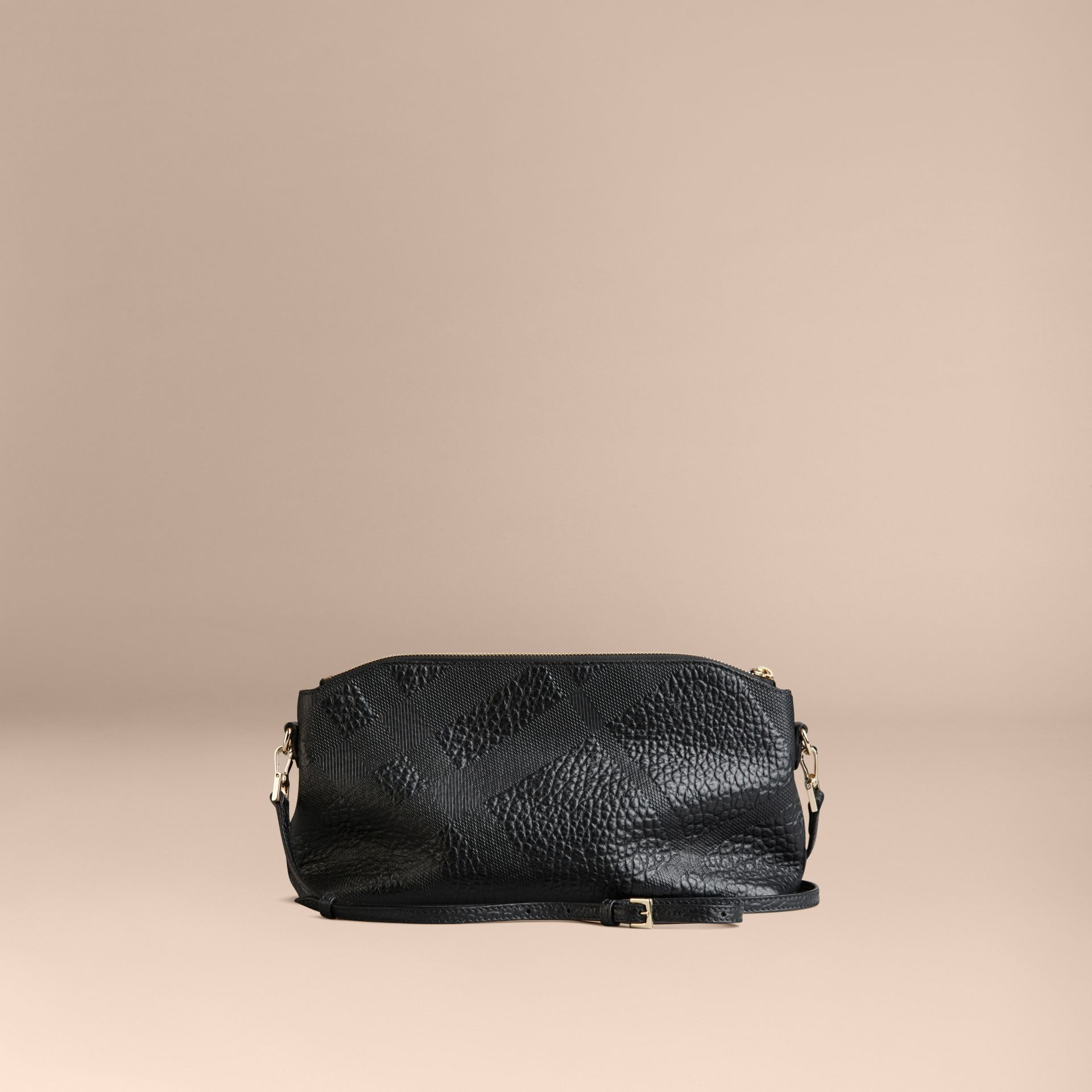 Small Embossed Check Leather Clutch Bag in Black - gallery image 4