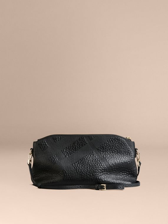 Small Embossed Check Leather Clutch Bag in Black - cell image 3