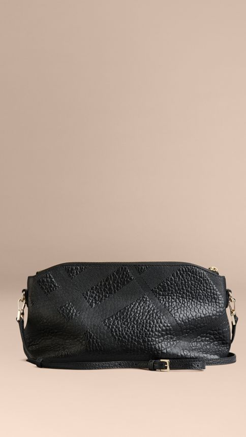 Black Small Embossed Check Leather Clutch Bag Black - Image 4