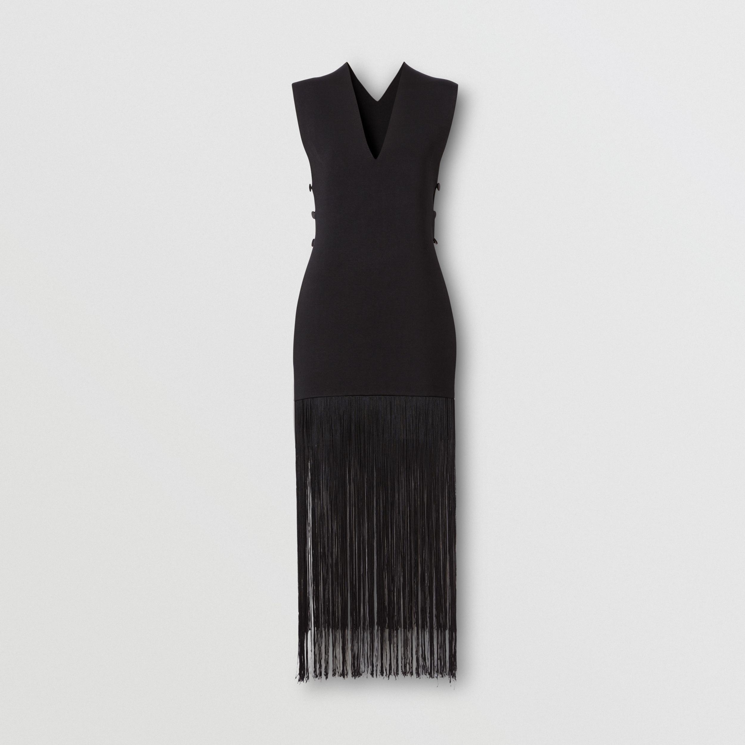 Sleeveless Fringed V-neck Poncho in Black - Women | Burberry - 1
