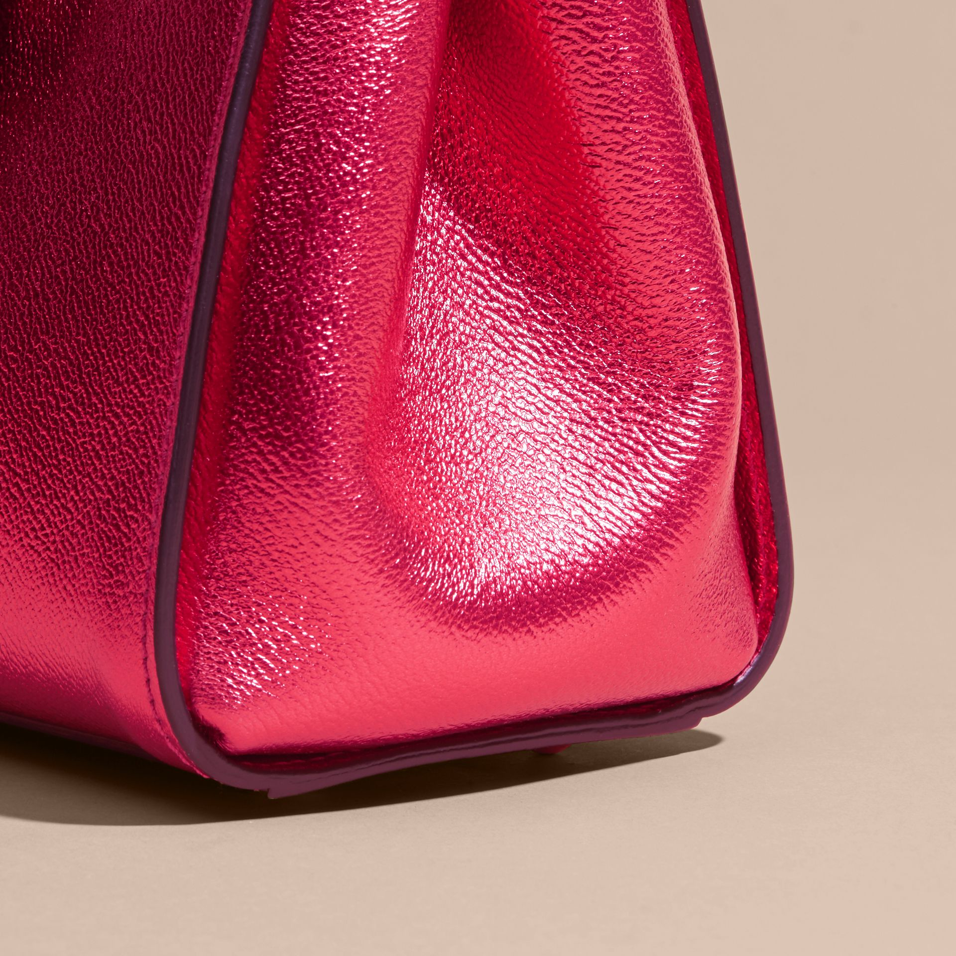 The Small Buckle Tote in Metallic Leather Bright Pink - gallery image 7