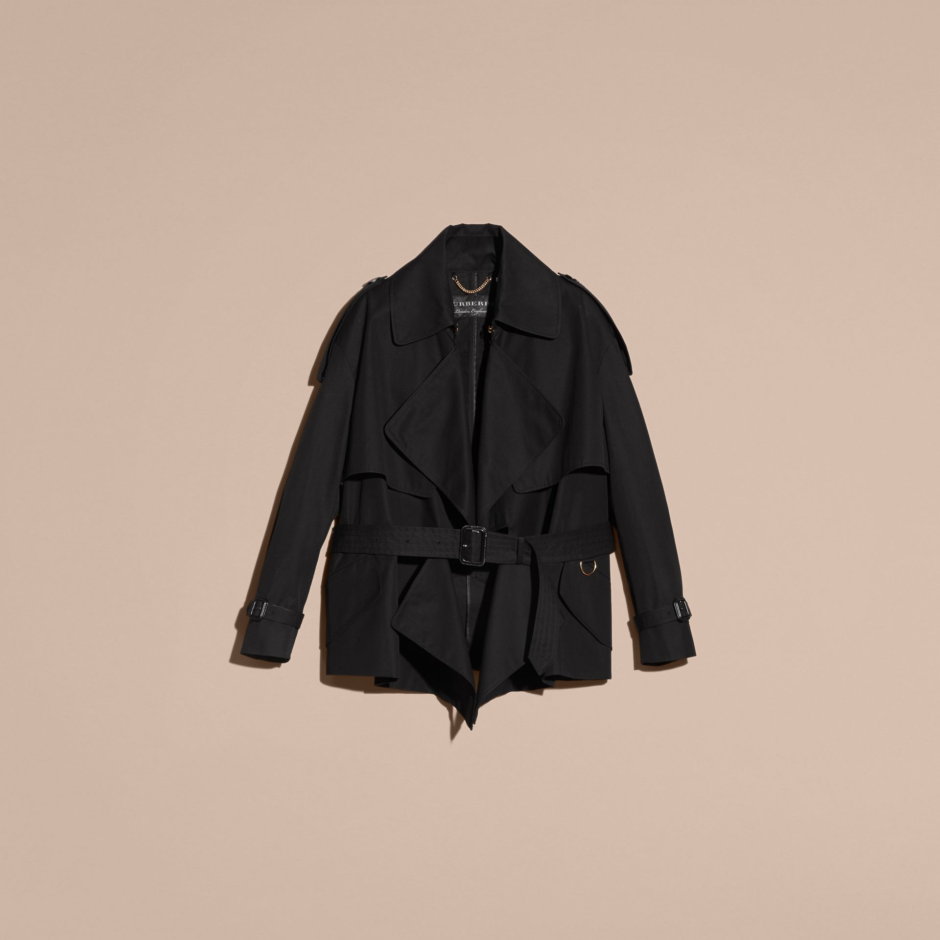 Black Cotton Gabardine Deconstructed Trench Jacket - gallery image 4