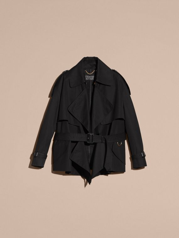 Black Cotton Gabardine Deconstructed Trench Jacket - cell image 3
