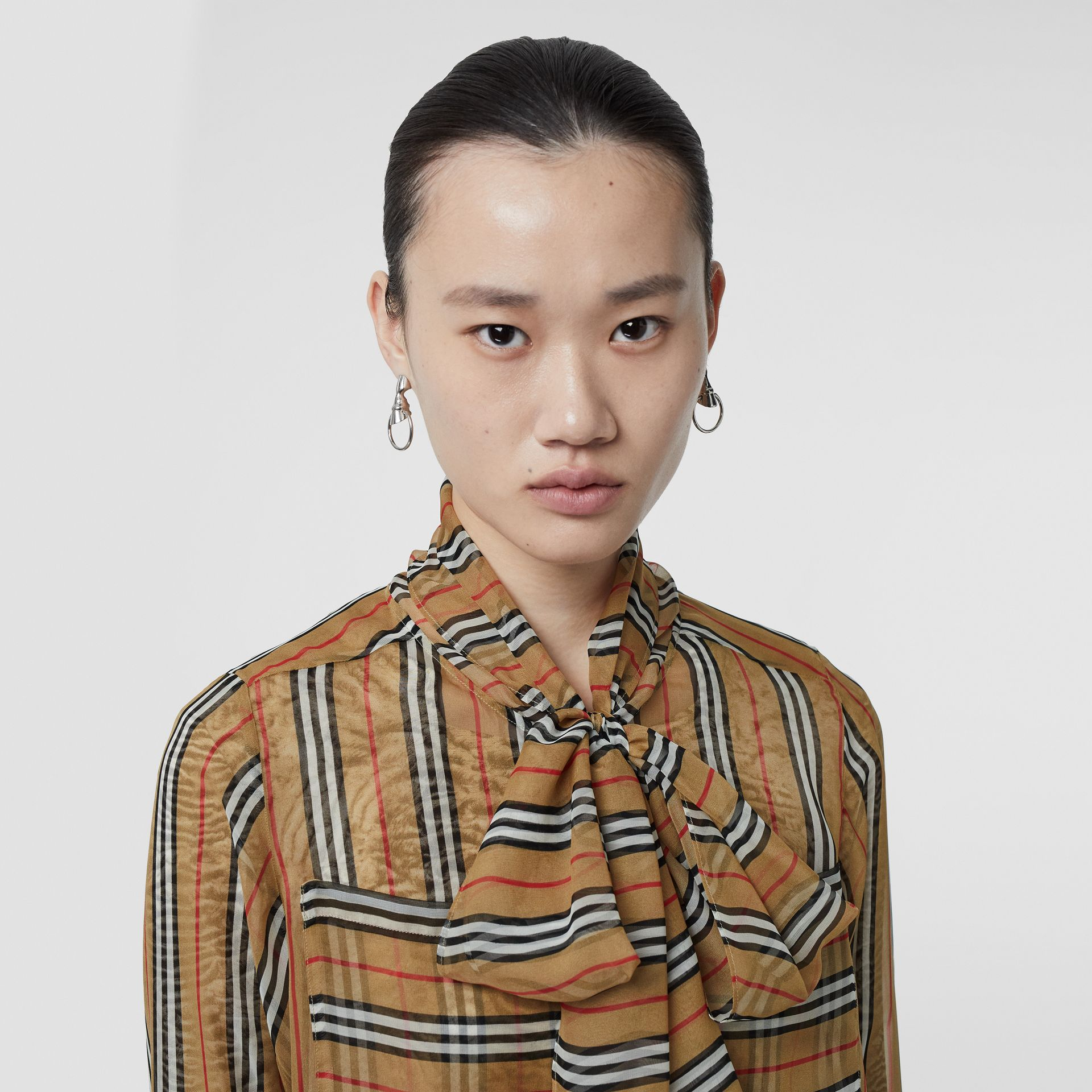 Icon Stripe Silk Pussy-bow Blouse in Antique Yellow - Women | Burberry Singapore - gallery image 5