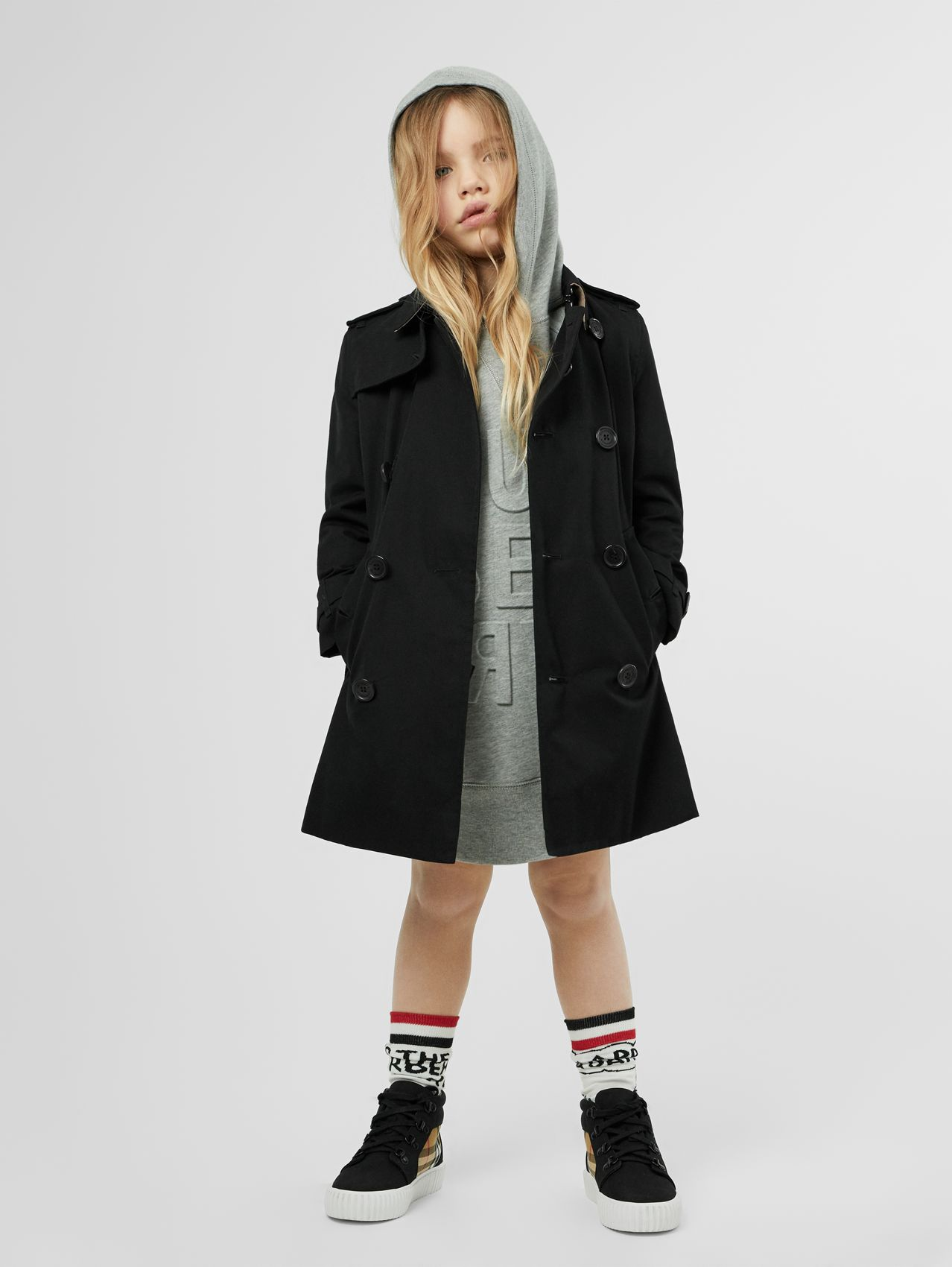Cotton Gabardine Trench Coat (Black)