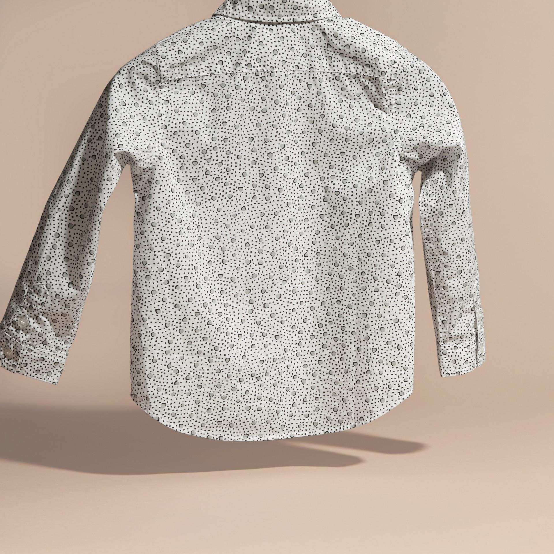 Branco Camisa de algodão com estampa de poás Branco - galeria de imagens 4