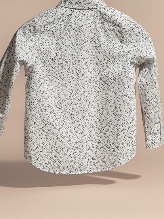 Branco Camisa de algodão com estampa de poás Branco - cell image 3
