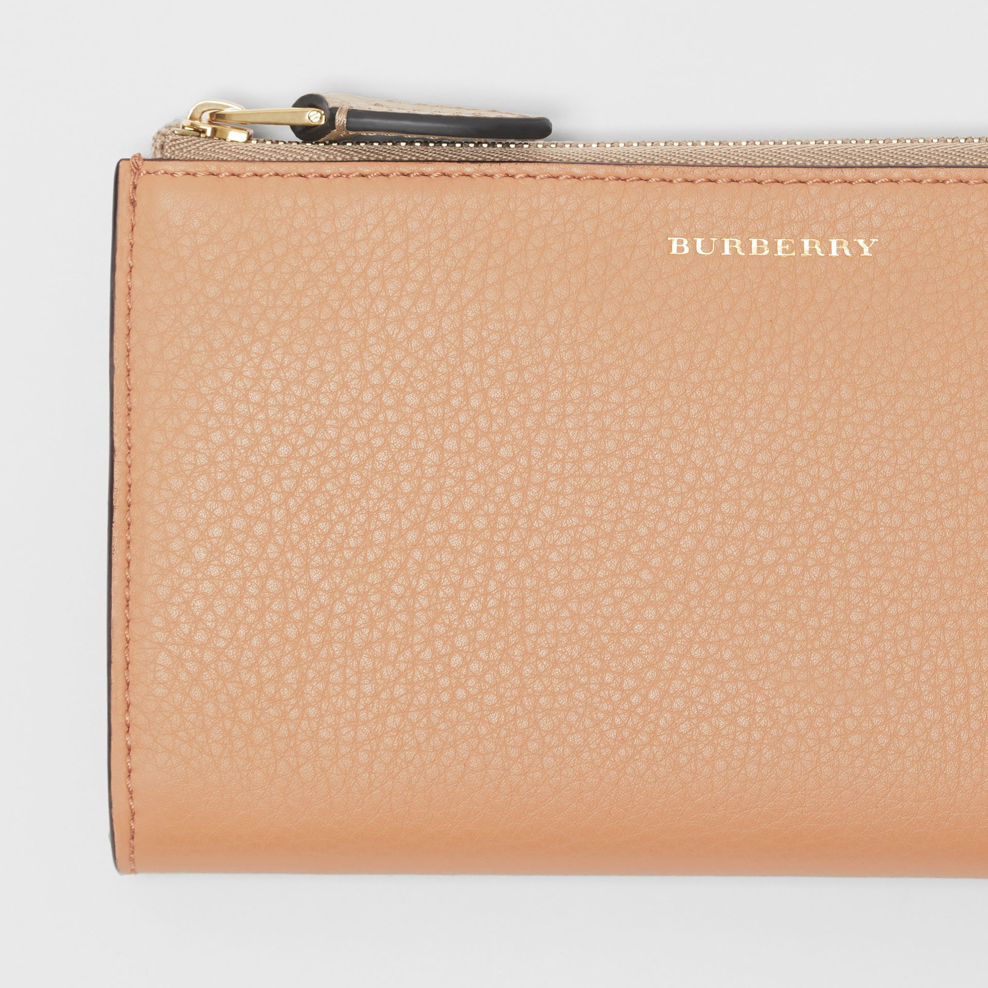 Two-tone Leather Ziparound Wallet and Coin Case in Light Camel - Women | Burberry - gallery image 1