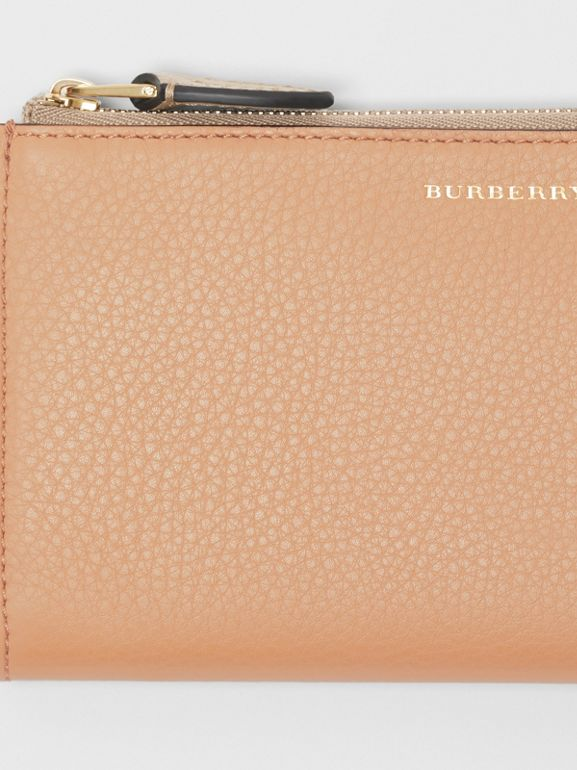Two-tone Leather Ziparound Wallet and Coin Case in Light Camel - Women | Burberry - cell image 1
