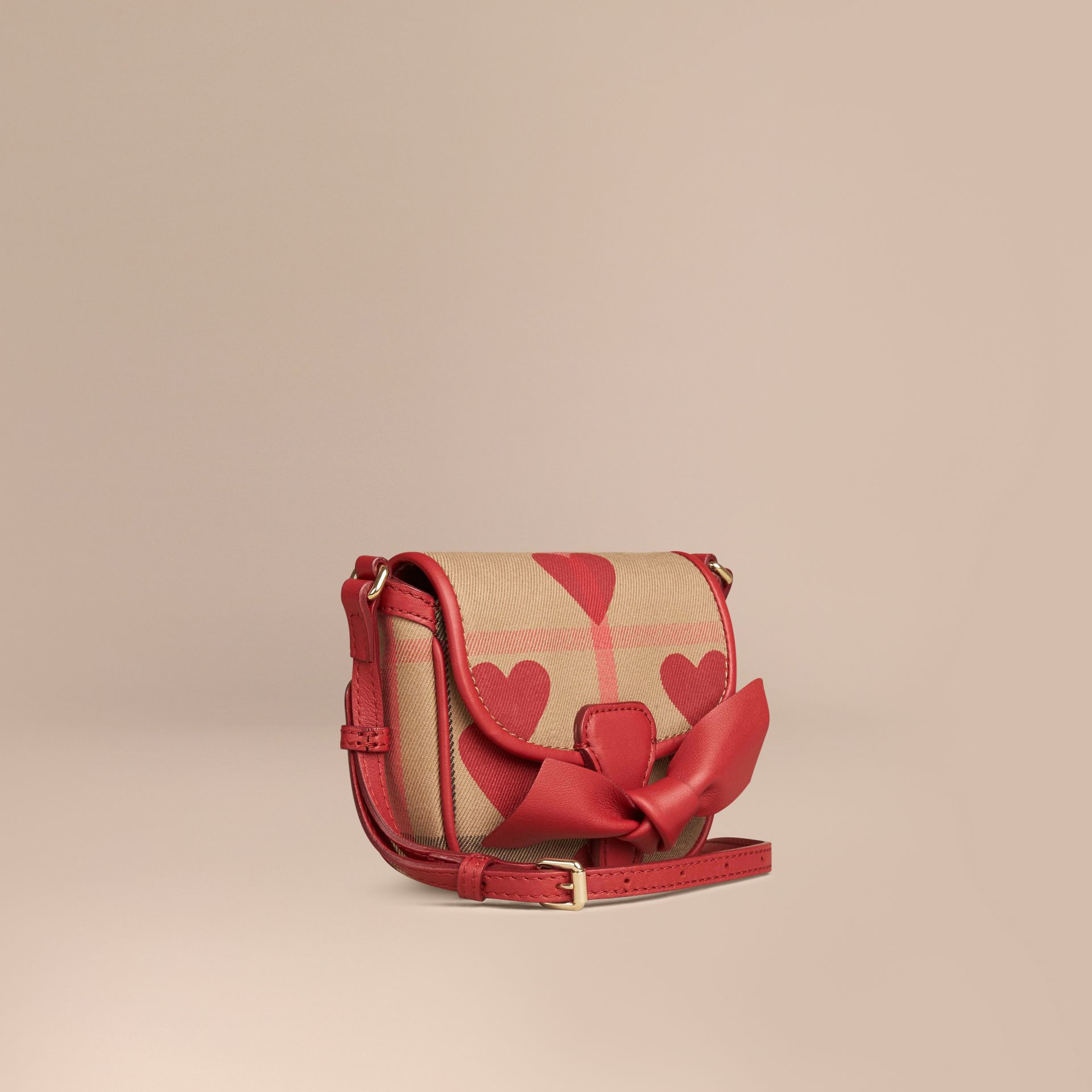 Parade red Heart-print House Check Crossbody Bag - gallery image 1