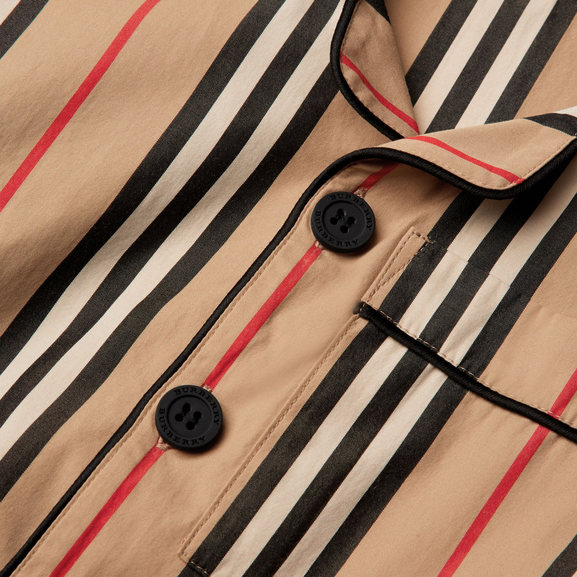 Short-sleeve Icon Stripe Cotton Poplin Shirt in Archive Beige | Burberry - gallery image 1