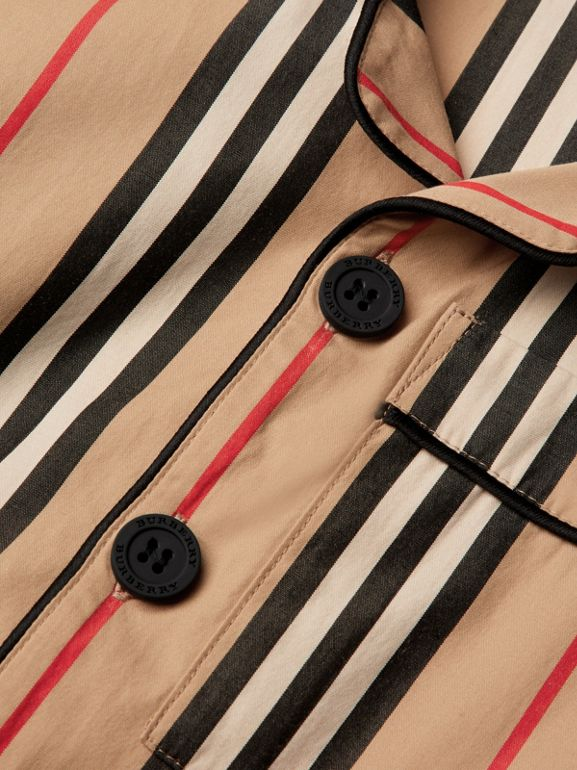 Short-sleeve Icon Stripe Cotton Poplin Shirt in Archive Beige | Burberry - cell image 1